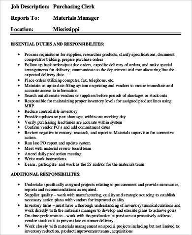 purchasing clerk job description manufacturing