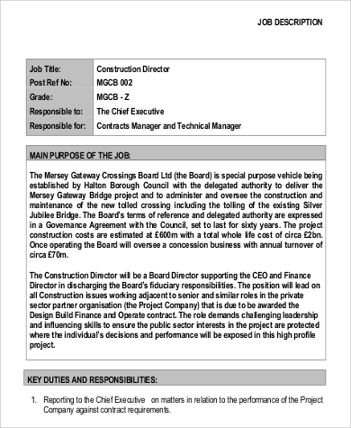 Project Director Job Description Sample   Examples In Pdf