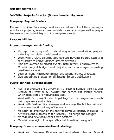 sample project director job description