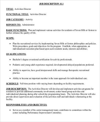 Activity Director Job Description Sample - 8+ Examples In Word, Pdf