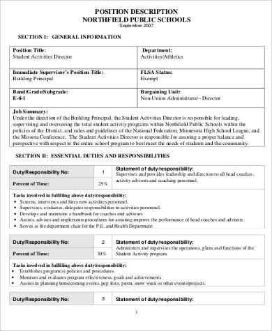 student activity director job description example