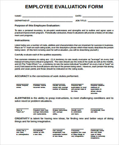 Employee Evaluation Form Sample  Free Sample Example Format