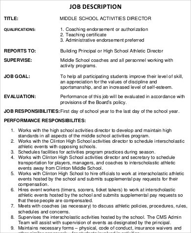 Activity Director Job Description Sample   Examples In Word Pdf