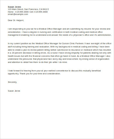 Free 6 Sample Office Manager Cover Letter Templates In Ms Word Pdf