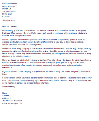 business office manager cover letter