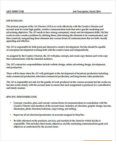 Director Job Description Sample - 11+ Examples In Word, Pdf