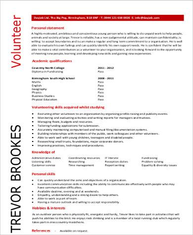 volunteer skills for resume