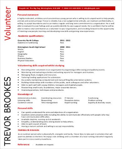 entry level volunteer resume