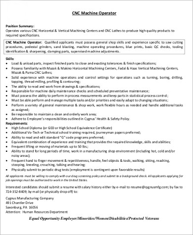 Sample CNC Machine Operator Resume  Cnc Operator Resume