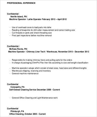 Sample Machine Operator Resume   Examples In Word Pdf