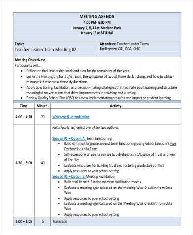 Team Meeting Agenda Sample  Free Sample Example Format Download