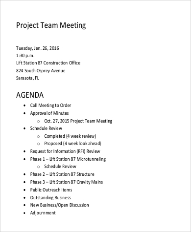 Team Meeting Agenda Sample   Examples In Word Pdf