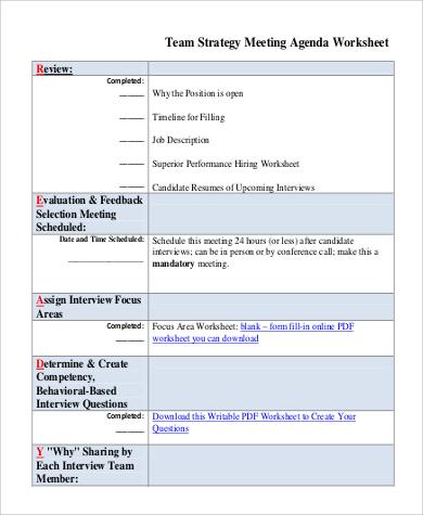 team strategy meeting agenda worksheet