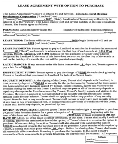home lease purchase agreement