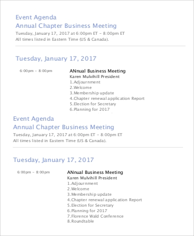 Event Agenda Sample   Examples In Word Pdf