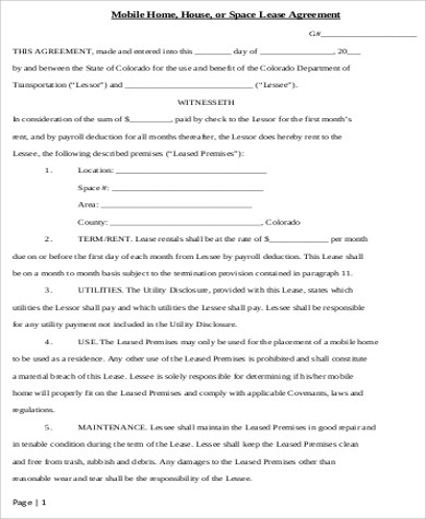 Sample Home Lease Agreement   Examples In Word Pdf