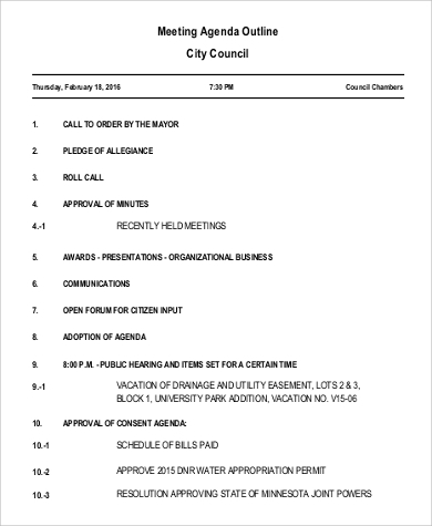 Meeting Agenda Outline Sample  Agenda Outline