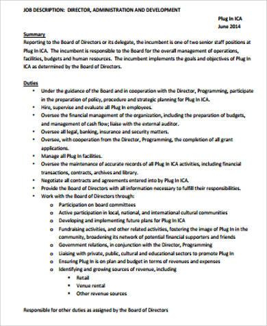 director of administration job description