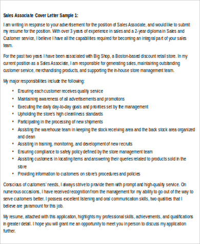 sales and marketing associate cover letter
