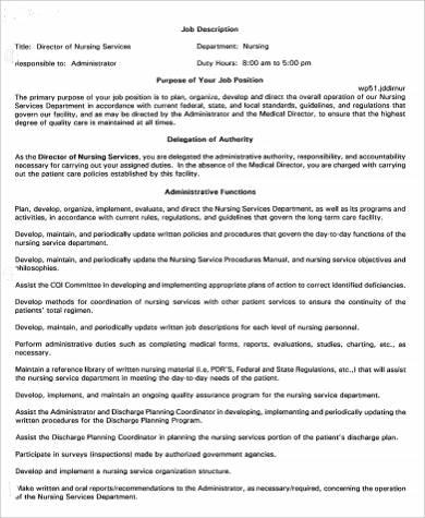 director of nursing services job description sample