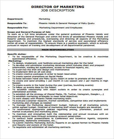marketing director job description free