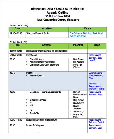 sales agenda outline format