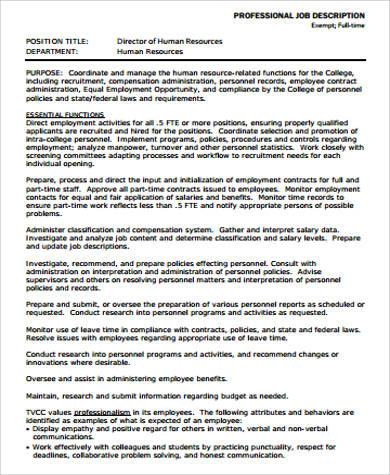 director of human resource job description