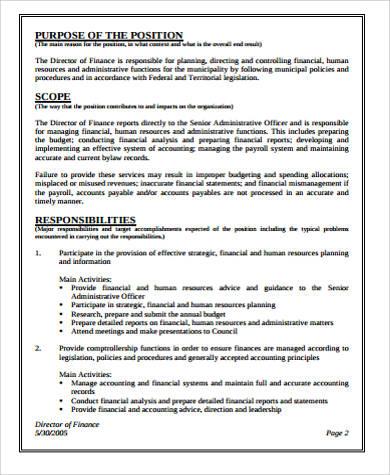 director of finance job description