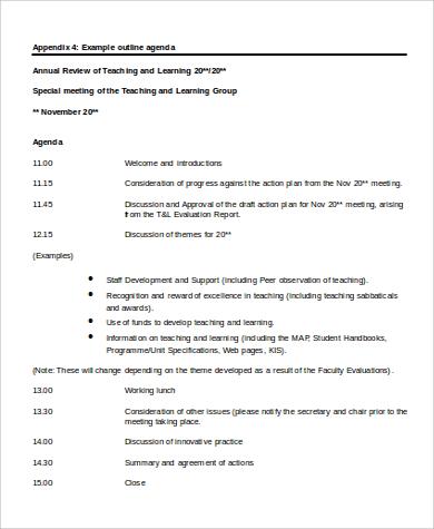 agenda outline in word format
