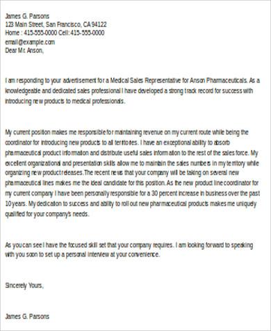 medical sales associate cover letter
