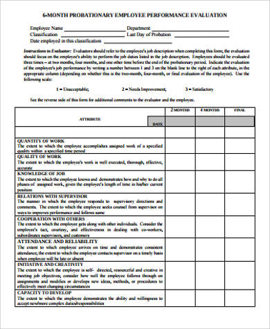 Performance Evaluation Form  Performance Evaluation Templates