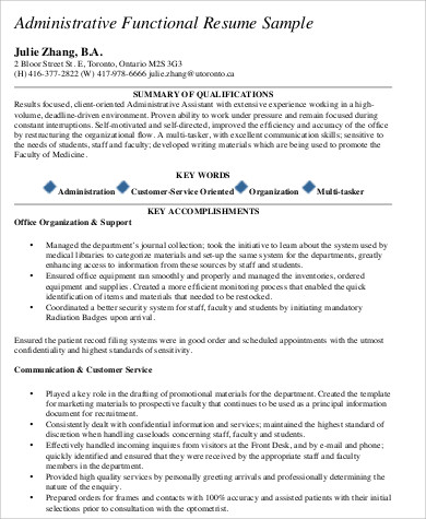 administrative experience resume