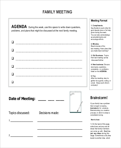 Family Agenda Sample   Examples In Word Pdf