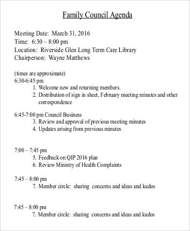 family council agenda iin pdf