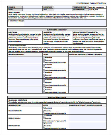 Work Performance Evaluation  Sample Performance Evaluation Form
