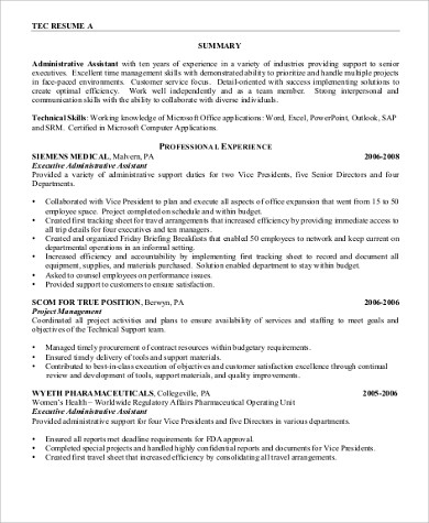 executive administrative assistant resume format