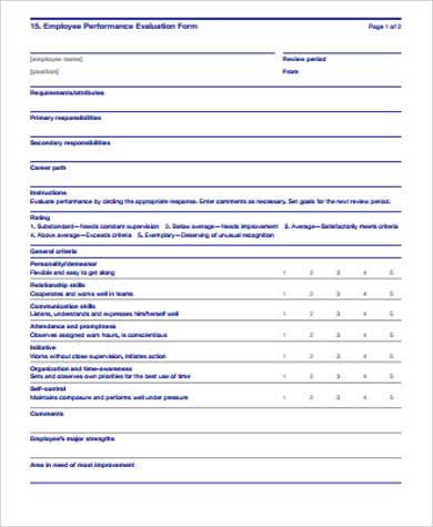 employee performance evaluation form sample