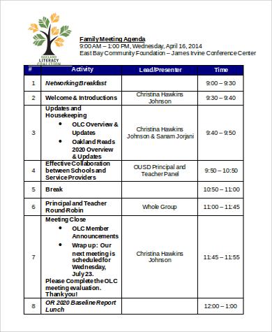 family agenda in word format