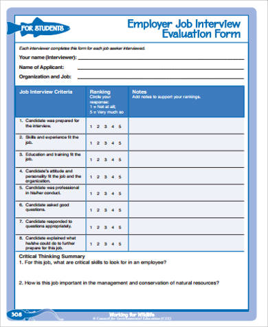 employer job interview evaluation form