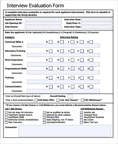 Interview Evaluation Form Sample   Examples In Word Pdf