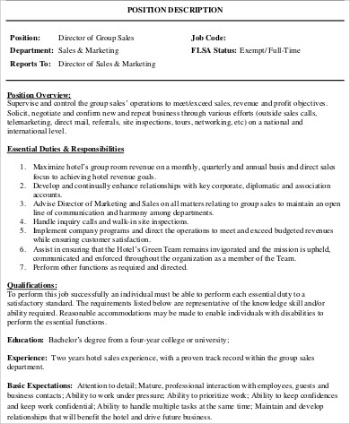 Sales Director Job Description Sample   Examples In Word Pdf
