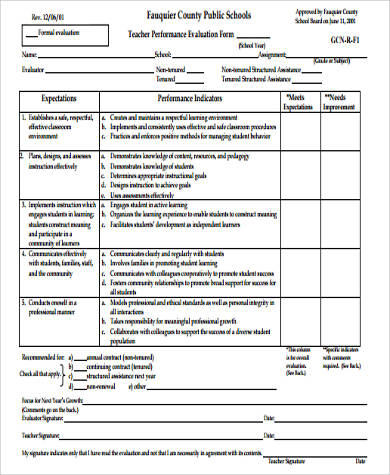 sample performance evaluation form for teachers