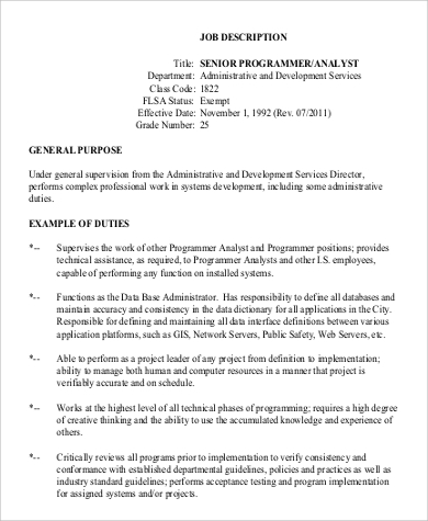 Sample Senior Programmer/Analyst Job Description