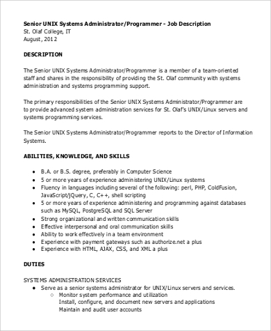 Senior Programmer Job Description Sample   Examples In Pdf