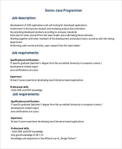 Lovely Senior Java Programmer Job Description In PDF
