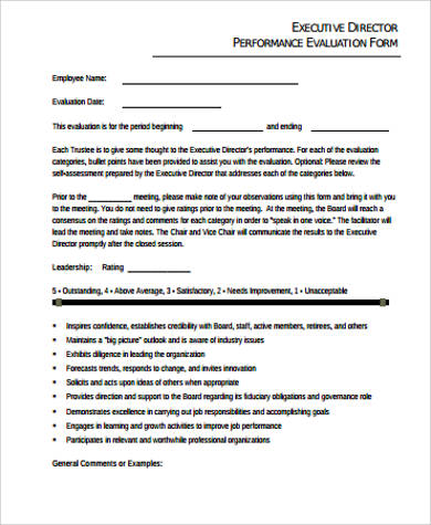 sample performance evaluation form example