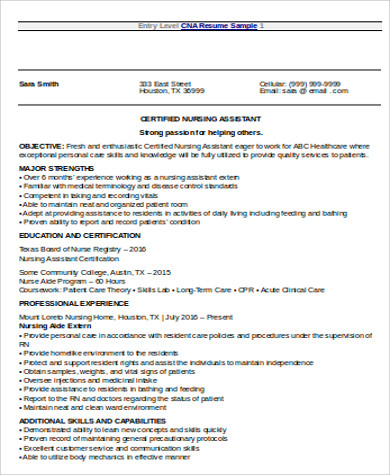 resume examples sample objective nursing sample cna resumes