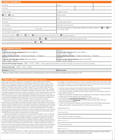 sample college admission application