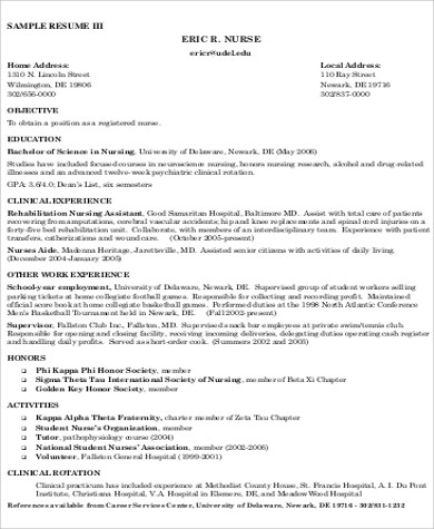 Examples Of Resumes For Nurses Sample Of Nurse Resume Resume Nurse