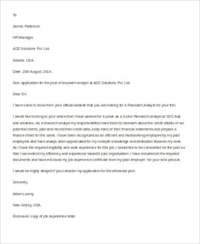 job application letter example